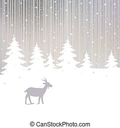 hiver, forêt, fond, année, nouveau, chèvre