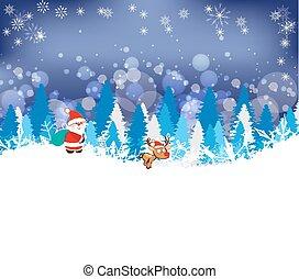 hiver, forêt, fond, cerf