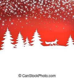 hiver, fox., noël, forest., arrière-plan., fée, blanc, paysage