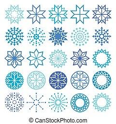 hiver, géométrique, flocons neige, formes, vecteur, collection, noël, icônes, lignes, étoiles, ensemble