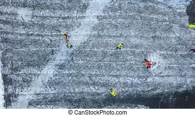 hiver, gens, hauteur, unrecognizable, hockey, dehors, jouer, vue