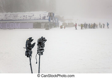 hiver, gens, skii, brouillard, polonais, fond, ski, temps, gants, extrême