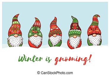hiver, gnoming., gnomes, chapeau, noël carte, rouges