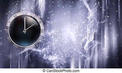 hiver, horloge, surgelé, fenêtre, en mouvement, fond, mains, noël