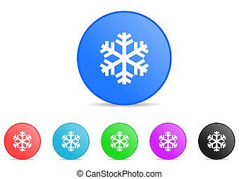 hiver, icônes, neige, glace, vecteur, froid, flocon de neige