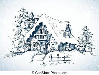 hiver, idyllique, paysage, arbres pin, et, maison, dans, les, neige
