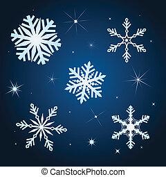 hiver, illustration, ensemble, vecteur, flocon de neige