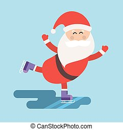 hiver, illustration, glace, santa, patins, sport, dessin animé