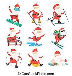 hiver, illustration, santa, sport, dessin animé, extrême