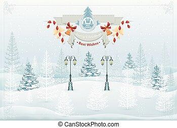 hiver, illustration, vecteur, forêt, noël, paysage