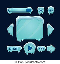hiver, jeu, interface, vecteur, dessin animé, utilisateur