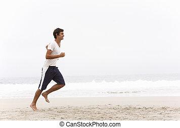 hiver, jeune, courir long plage, homme
