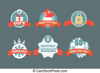 hiver, la, vendange, étiquettes, labels., escompte, vecteur