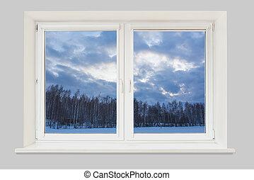 hiver, lac gelé, fenêtre, paysage, vue
