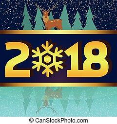 hiver, lakeside, image, reindear, vecteur, 2018, fond