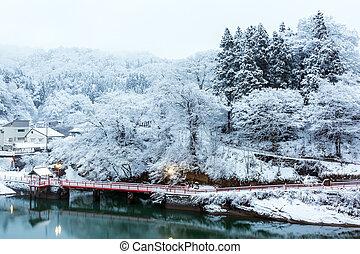 hiver, landcape, lac