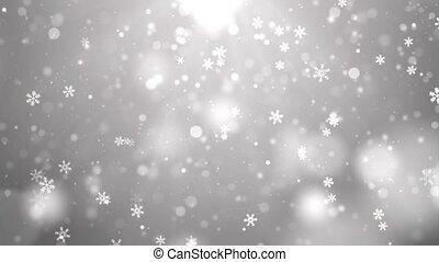 hiver, lourd, fond blanc, 4k, snowflakes., naturel, noël, boucle, chute neige