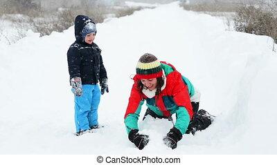 hiver, mère, fils