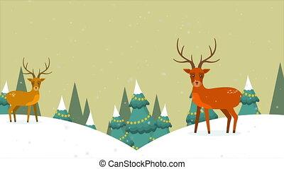 hiver, métrage, cerf, joyeux noël, paysage