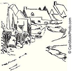 hiver, maison, arbres., route, village, paysage, sketch.