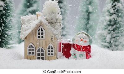 hiver, maison, bonhomme de neige
