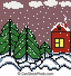 hiver, maison, illustration, vecteur, forêt, pixels, paysage