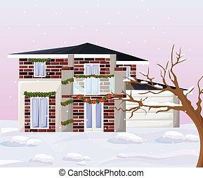 hiver, maison, moderne, vecteur, architecture, façade