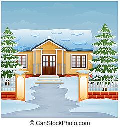hiver, maison, neige, jour, rue, dessin animé, paysage