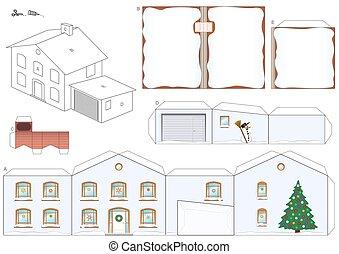 hiver, maison, neige, papier, gabarit, modèle, noël