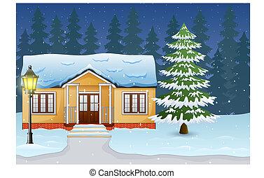 hiver, maison, neige, rue, nuit, dessin animé, paysage
