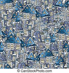 hiver, maisons, dessin, seamless, modèle