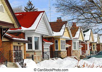 hiver, maisons