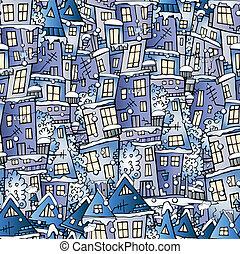 hiver, modèle, conte, maisons, fée, dessin animé