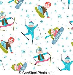 hiver, modèle, seamless, fond, snowboarder, sport, dessin animé, skieur