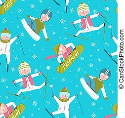 hiver, modèle, seamless, froussard, fond, snowboarder, sport, dessin animé, skieur