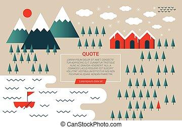 hiver, montagne, concept