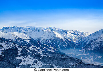 hiver, montagnes.
