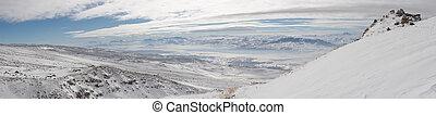 hiver, monter, panoramique, ararat, montée, image