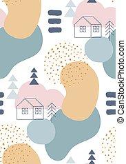 hiver, motifs, couleurs, pastel, résumé, seamless