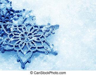 hiver, neige, arrière-plan., flocons neige