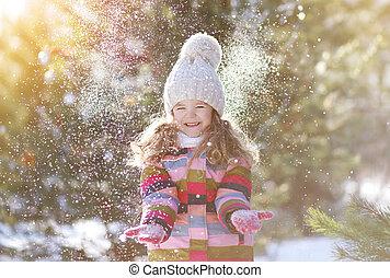 hiver, neige, avoir, enfant, amusement, joyeux, jour