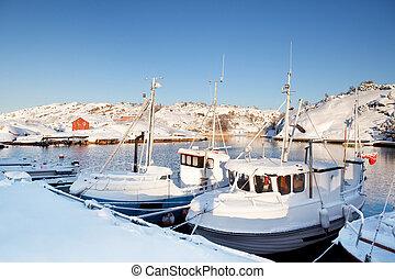 hiver, neige, bateau