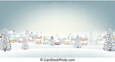 hiver, neige, colline, fond, village, petit
