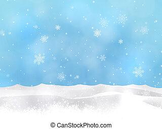 hiver, neige, collines