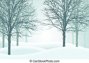 hiver, neige, illustration, vecteur, brume, forêt, suitable, noël carte