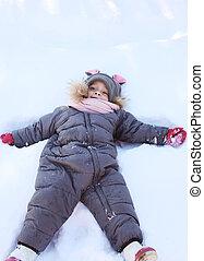 hiver, neige, jour, enfant joue, mensonge