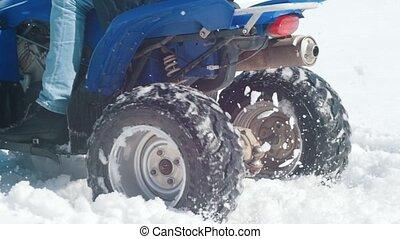 hiver, neige, surmonter, forest., motoneige, équitation, homme