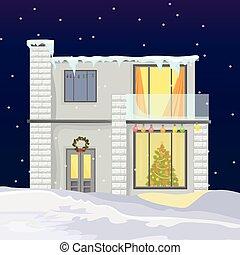 hiver, neiger, maison, moderne, arrière-plans, arbre, holidays., vecteur, pendant, noël
