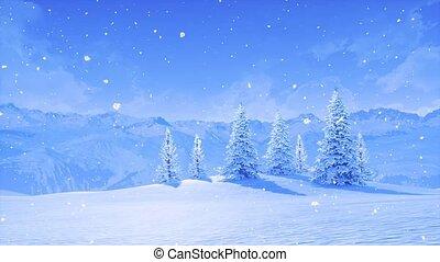 hiver, neigeux, arbres sapin, chute neige, montagne, jour
