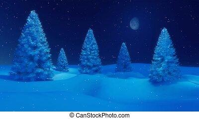 hiver, neigeux, chute neige, 4k, nuit, sapins, calme